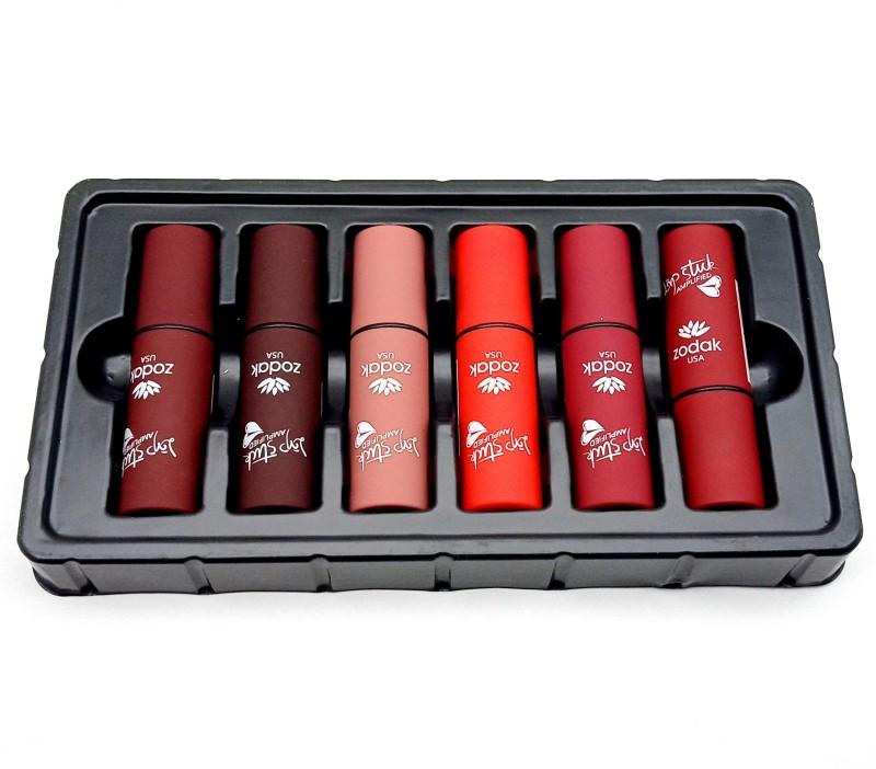 Zodak Lip Stuck Amplified Lipstick (Pack of 6 )(Chocolate Mousse, Wine Red, Hot Red, Party Pink, StylishTomorrow, Corel Orange, 58 g)