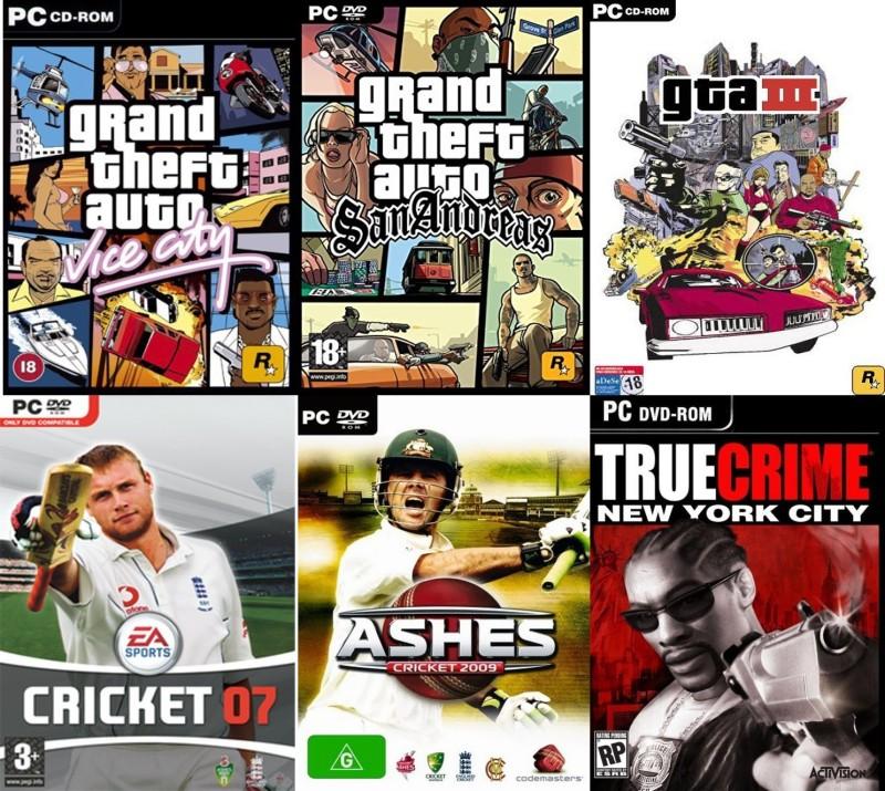 Gta Vice City, Gta SanAndreas, Gta 3, EA Cricket 07, Ashes Cricket 09, True Crime Total 6 Game Combo (Regular)(Action Adventure , Sports , Open World, for PC)
