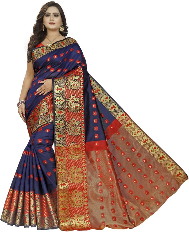BEN LEE Embroidered Kanjivaram Silk Blend, Cotton Blend, Pure Silk, Dupion Silk, Art Silk, Poly Silk, Pure Cotton, Cotton Silk Saree(Blue)
