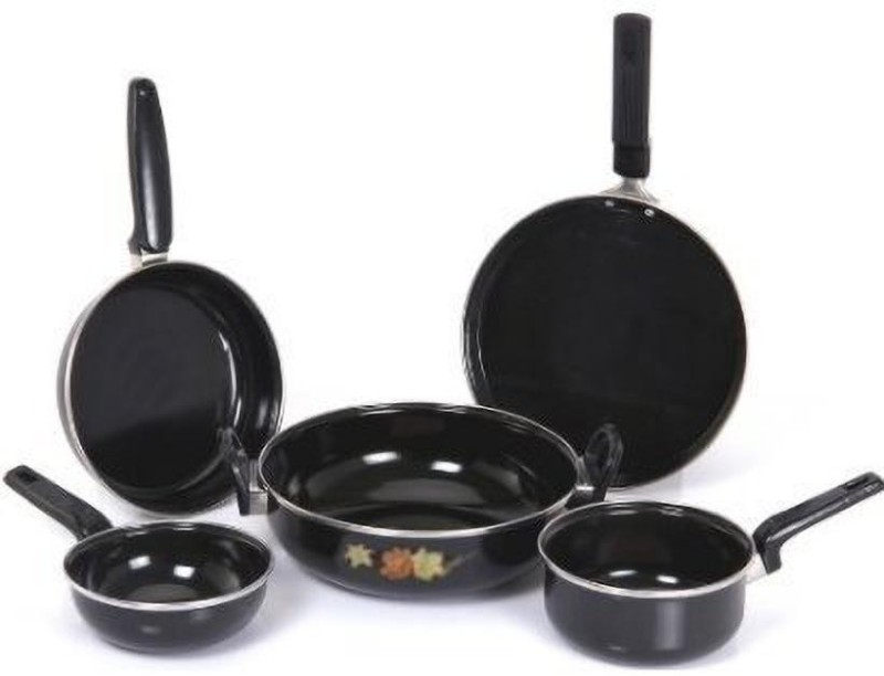 xllent Induction Base Cookware Black. Induction Bottom Cookware Set(Steel, 5 - Piece)