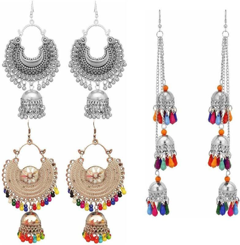 PRASUB combo of 3 pair trendy designer Regular Multicolor beads jhumki earrings for Girls and women Alloy Chandbali Earring