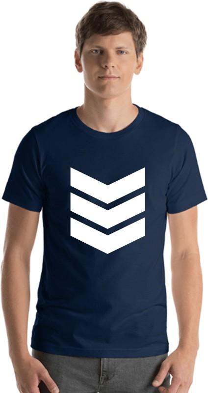 Emmature Printed Men Round Neck Blue T-Shirt