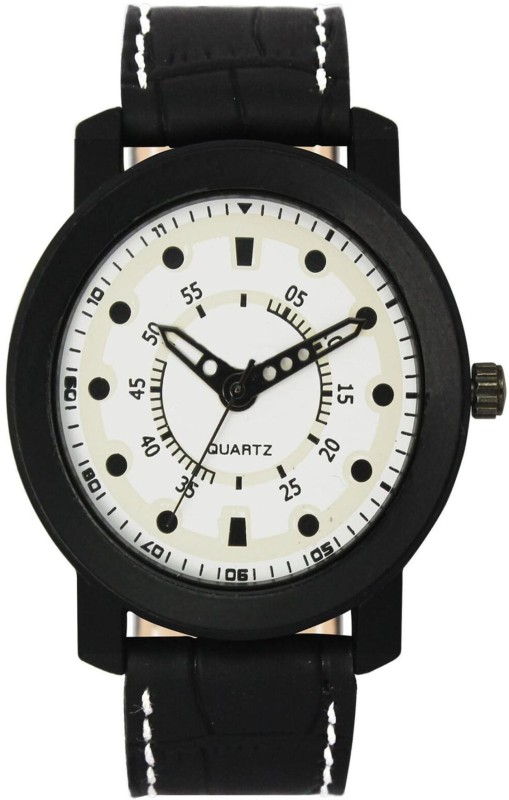 MAHANT CREATION VL16 WHITE DTIAL BLACK STRAP WATCH Analog Watch - For Men