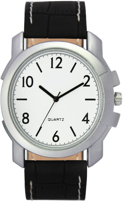 MAHANT CREATION VL12 WHITE DTIAL BLACK STRAP WATCH Analog Watch - For Men