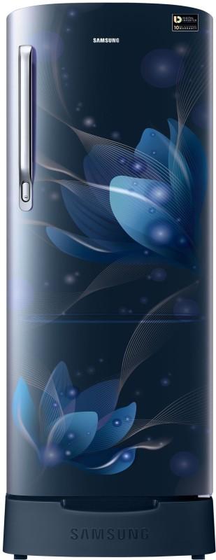 Samsung 192 L Direct Cool Single Door 4 Star (2020) Refrigerator with Base Drawer(Saffron Blue, RR20T182XU8/HL)