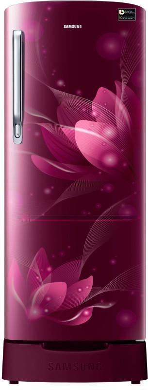 Samsung 192 L Direct Cool Single Door 4 Star (2020) Refrigerator with Base Drawer(Saffron Red, RR20T182XR8/HL)