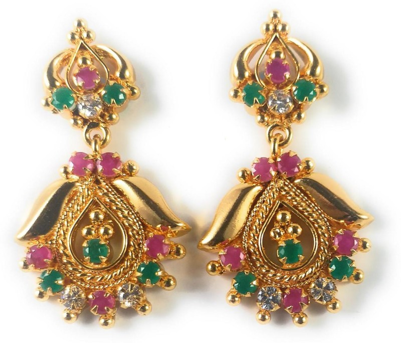 AFJ GOLD One Gram Gold Plated Traditional Trendy Stylish Earrings Emerald, Ruby Alloy Stud Earring