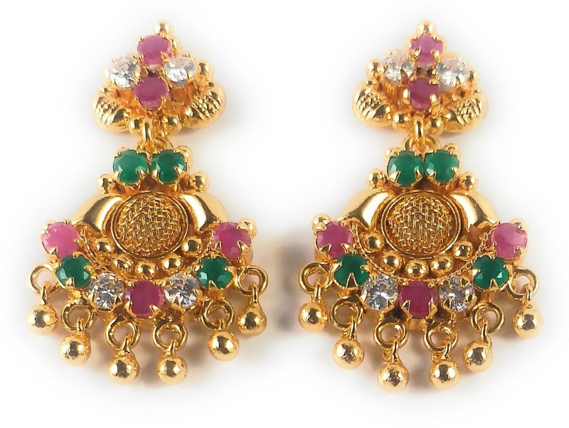 AFJ GOLD One Gram Gold Plated Traditional Trendy Stylish Earrings Ruby Alloy Stud Earring
