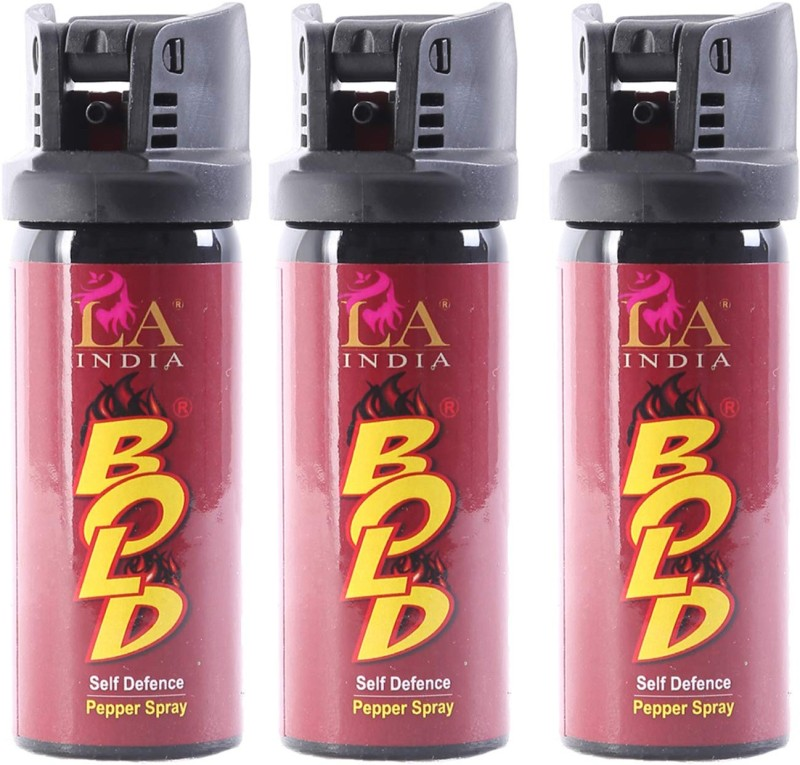 BOLD Self Defence Pepper Spray for Women with Safety Lock (55 ML) (Pack of 3) Pepper Stream Spray
