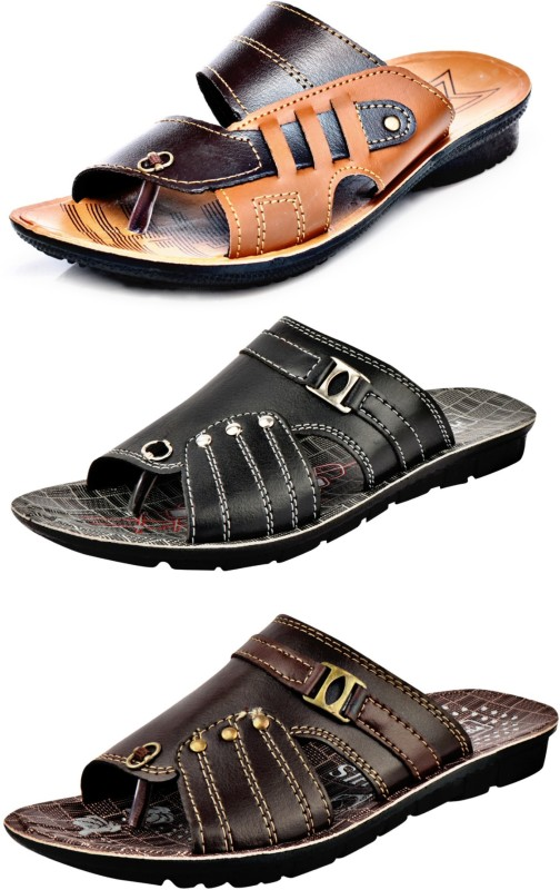 Calcados by Slippers Combo Pack of 3 Fancy Men Multicolor Flats