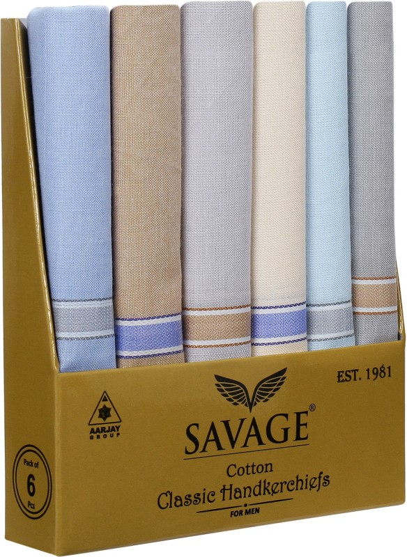 Savage Mens Formal Cotton Handkerchiefs Multicolored (80% Cotton 20% Polyester) | Business Handkerchiefs for Men for Daily use Large Size (41cms x 41cms) | Mens Clothing Accessories Handkerchief(Pack of 6)