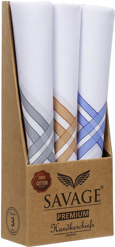 Savage 100% Cotton Men's Premium Quality Handkerchiefs White | Formal Cotton Handkerchiefs for Mens Daily Use | Business Handkerchief Large Size (45cms x 45cms) | Mens Clothing Accessories Handkerchief(Pack of 3)