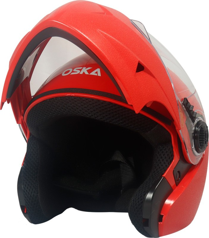 Steelbird Classic Flip up Helmet in Red With Plain Visor Motorbike Helmet(Red With Smoke Visor)
