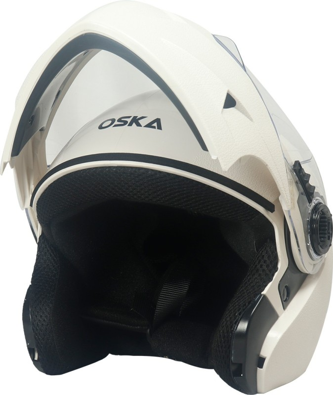 Steelbird Flip up Helmet in White with Plain Visor Motorbike Helmet(White with Plain Visor)