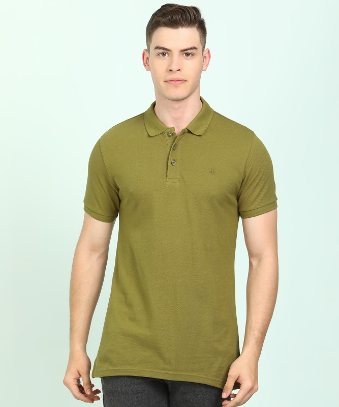 United Colors of Benetton Solid Men Polo Neck Dark Green T-Shirt