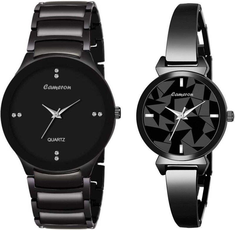 Cameron New Latest Metal Analog Black Dial Men's and Women's Watch Combo Analog Watch - For Couple Analog Watch - For Couple