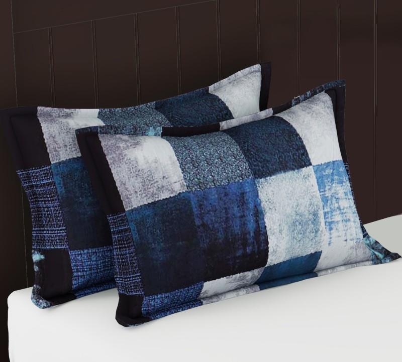 Metro Living Geometric Cushions & Pillows Cover(Pack of 2, 44 cm*66 cm, Blue)