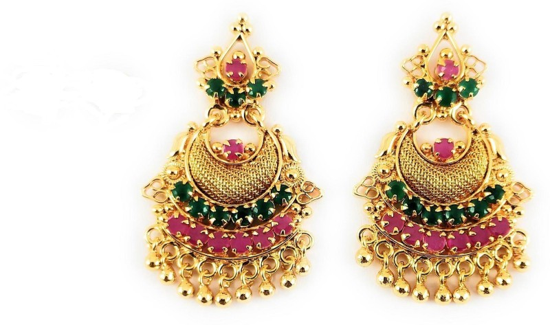AFJ GOLD One Gram Gold Plated Traditional Trendy Stylish Earrings Ruby Copper Ear Thread
