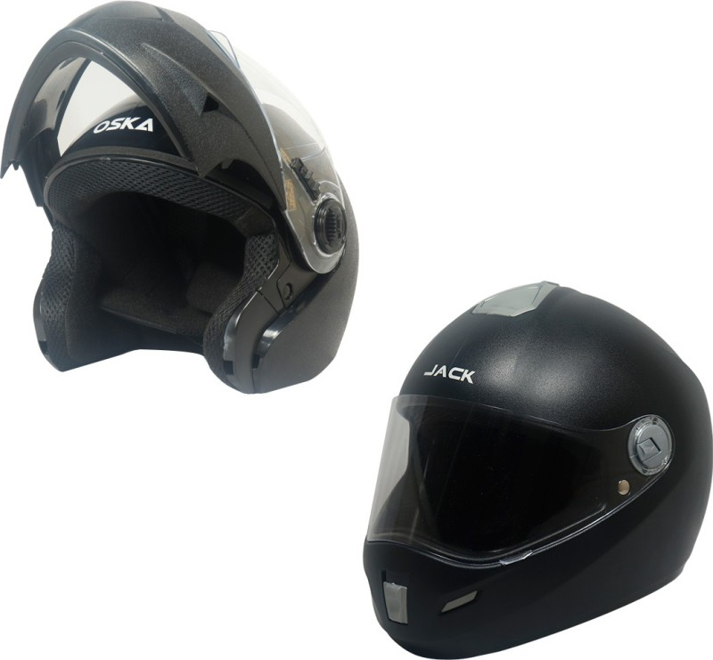 Steelbird SB-41 Oska Flip Up Helmet ( L ) and SBH-2 Jack Full Face Helmet ( L ) Combo Motorbike Helmet(Black with Plain visor)