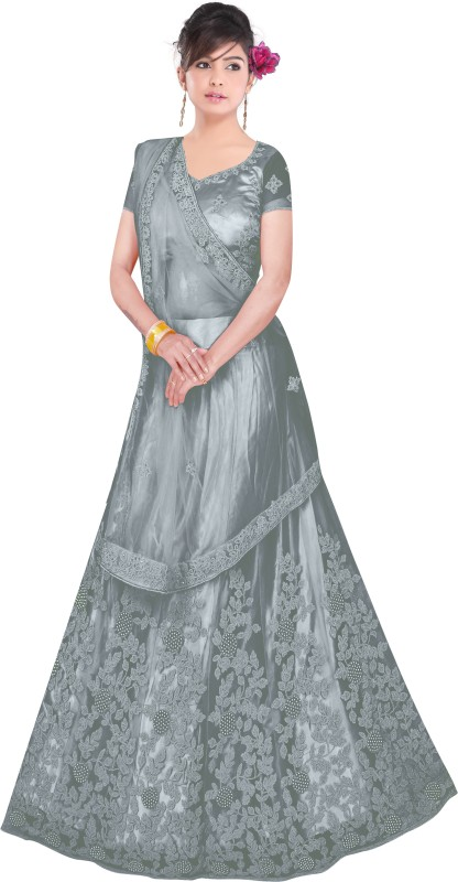 Zaalima Fashion Embroidered Semi Stitched Lehenga, Choli and Dupatta Set(Grey)