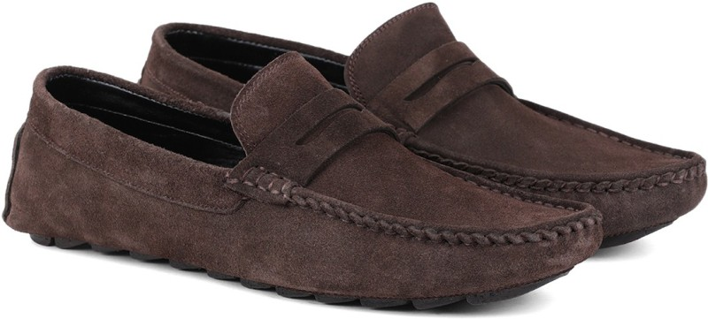 LOUIS STITCH Demesure Unerobe Finest Quality Suede Moccasins Loafers for Men Ultra Comfortable Stylish and Robust Loafers For Men(Brown)