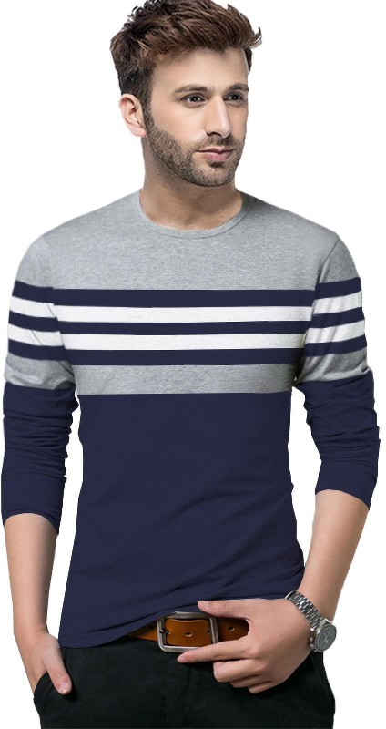 Tripr Striped Men Round Neck Dark Blue, Grey, White T-Shirt