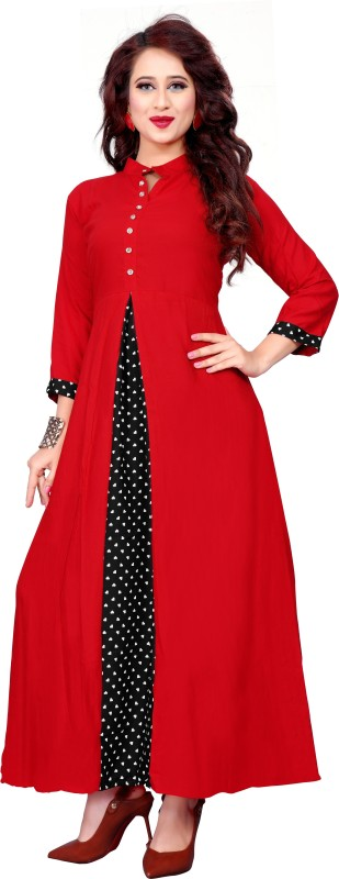 PMD Fashion Casual Printed Women Kurti(Red)