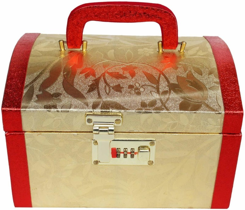 poksi Fashion Gold Color Womens Cosmetics Vanity Box 9.5 Inches Length X 6.5 Inches Width X 5.5 Inches Height Make Up, Jewellery sets, accessories, store up cosmetics Vanity Box(Red, Gold)