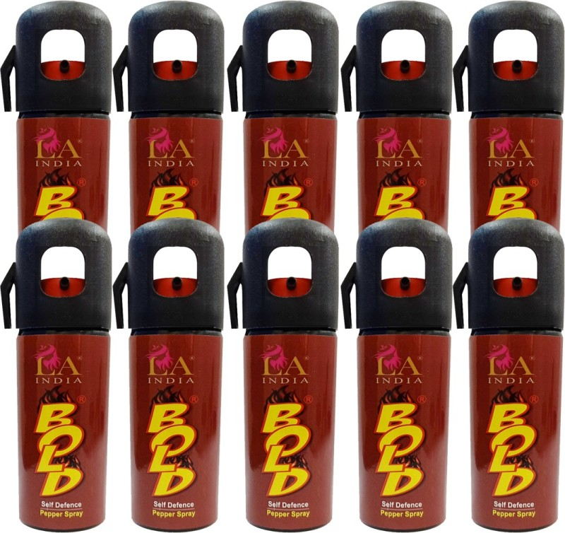 Bold Self Defence Pepper Spray for Women Safety With Thumb Cut Cap (55 ML) Combo Pack of 10 Pepper Stream Spray