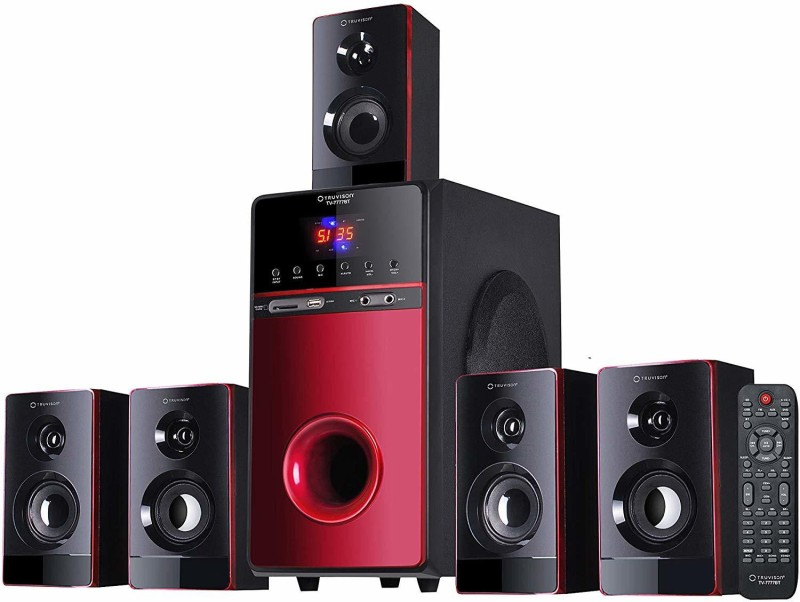 Truvison TV-7777BT, 5.1 Home Theater Speaker System Bluetooth, 20000 Watts PMPO Multimedia Surround Sound Theatre Speakers Subwoofer for Computer Pc TV Home Music 2018 Model (Karaoke Mic Support) 20000 W Bluetooth Home Theatre(Red, Black, 5.1 Channel)