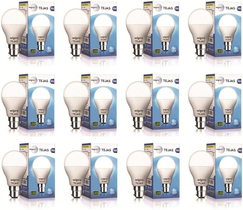 WIPRO 9 W Standard B22 LED Bulb(White, Pack of 12)