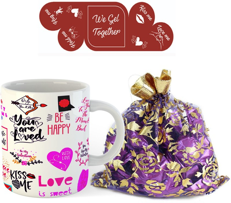 Regallo Gift set of Love Quotes Mug ,10 Homemade Chocolate and Greeting card Ceramic Gift Box(Multicolor)