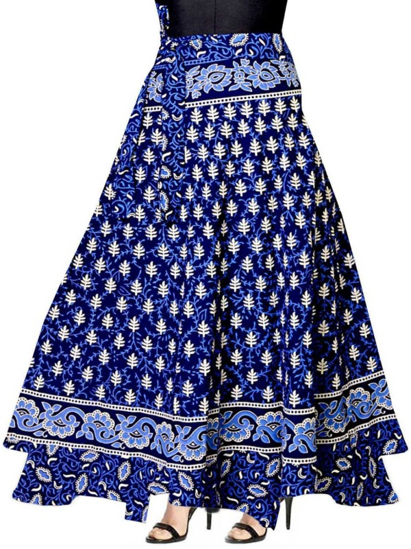 FrionKandy Printed Women Wrap Around Blue Skirt