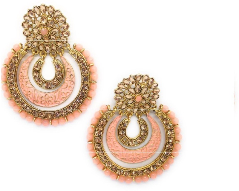 NEAMI chandbali fashion peach stone earrings,dangling stylish and trendy earring for women(gold and peach)for saree suits and lehenga Alloy Chandbali Earring