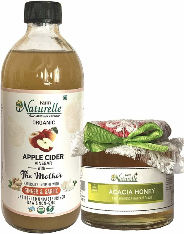 Farm Naturelle Organic Apple Cider Vinegar (ACV) with Mother (Infused with Ginger and Garlic) is 100% Natural, Raw, Unfiltered and Unpasteurized. It contains 'Mother' which is a proof of Unfiltered Vinegar.Organic ACV with Mother helps in Weight Loss, controlling Blood Sugar, Blood Pressure, Cholest