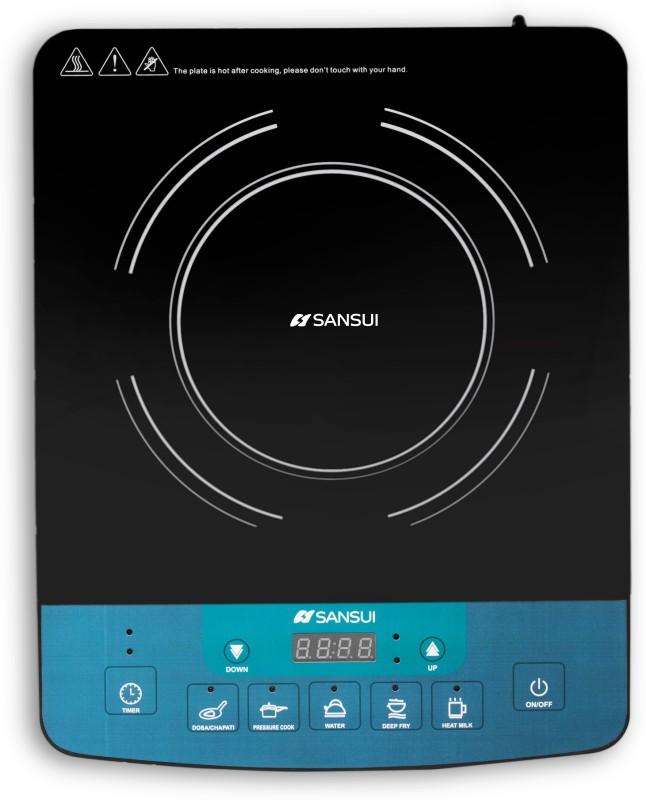 Sansui ProHome 1800W Induction Cooktop (Black, Blue, Push Button)
