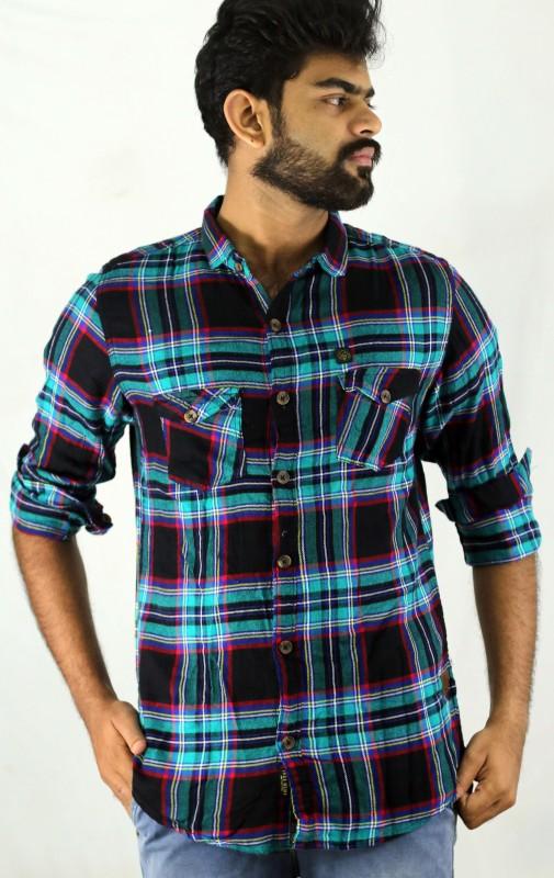 Indi Hemp Men & Women Checkered, Printed Casual Multicolor Shirt