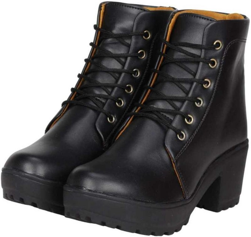 MSDIAN Girls Stylish/Comfortable/Casual/Heel shoe/Party Wear Boots For Women(Black) Boots For Women(Black)