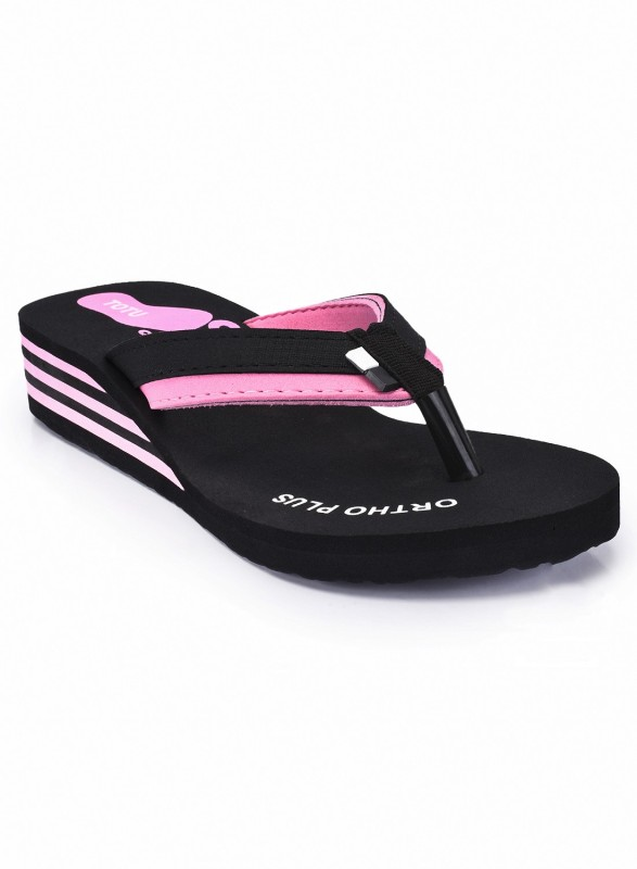 Totu Totu Womens Black and Pink Casual Stylish Comfort ortho High Heel (Pack Of 1) Flip Flops , Size-4 Slippers