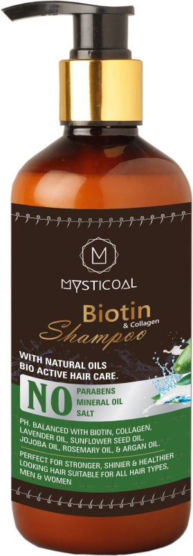Mysticoal Biotin & Collagen Thickening Shampoo for Hair Volume and Hair Loss,Free from Paraben & Mineral Oil, for Men and Women Hair Shampoo (300 ml)(300 ml)