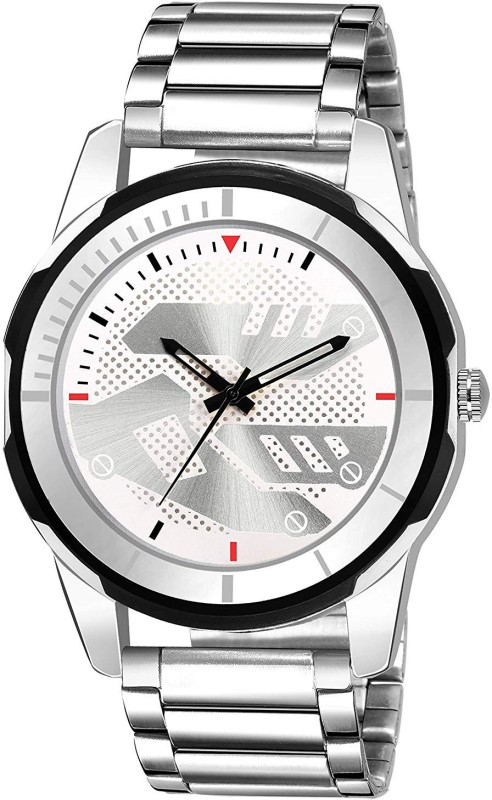 GANESH FASHION WHITE+BLACK+RED ROUND SPECIAL DIAL WITH SILVER STILL STRAP WATCH FAST AND TRACK MODEL. FULLY SLIM WATCH. DIAGRAM DIAL Analog Watch - For Men