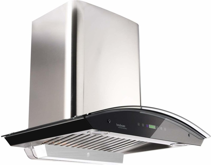 Hindware Nevio 60 Auto Clean Wall Mounted Chimney(Brushed Silver/Inox 1200 CMH/m3/h)