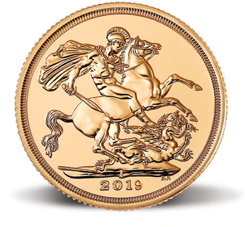 "MMTC-PAMP India Pvt Ltd Sovereign 2019, aka ""Guinea"" 22 (916.7) K 7.98805 g Gold Coin"