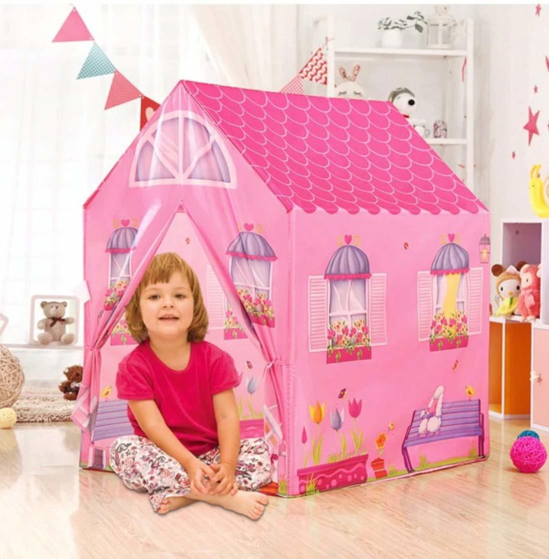 Kashti Jumbo Size Extremely Light Weight , Water and Fire Proof Doll House Tent for Kids(Multicolor)