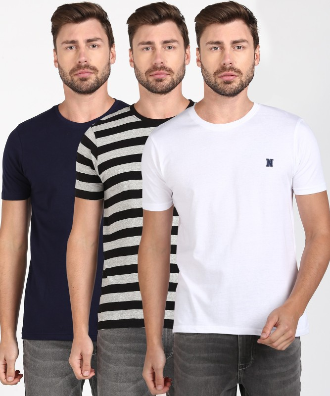 Newport Striped Men Round Neck Multicolor T-Shirt(Pack of 3)