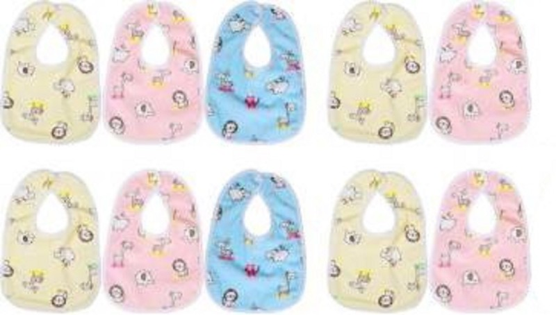 Pago Bear Bib for Infants Daily Use Super Soft Cotton Fast-Dry Printed Bibs- Quantity-10(Multicolor)