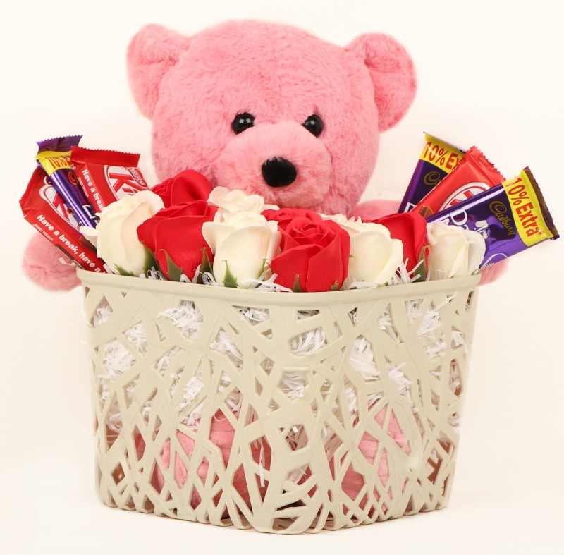 TIED RIBBONS Gift for Girlfriend on Valentines Day Wife Girlfriend Girls Her - Love Gift Pack ( Basket , Scented White and Red Rose Flowers , Big Teddy , Kitkat and Dairy Milk Chocolates ) Assorted Gift Box(Multicolor)