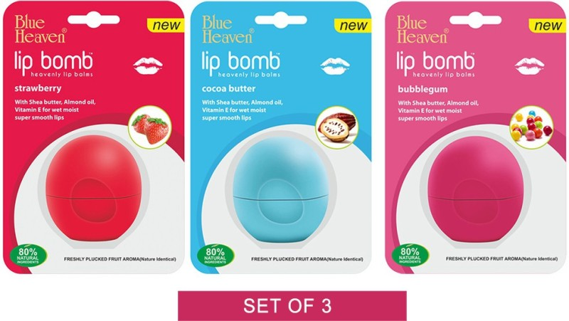 Blue Heaven Lip Bomb - Cocoa Butter, Strawberry & Bubble Gum Lip Balm Cocoa Butter, Bubble Gum & Strawberry(Pack of: 3, 8 g)
