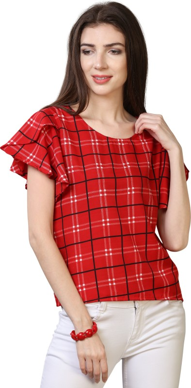 Oomph! Casual Butterfly Sleeve Checkered Women Red Top