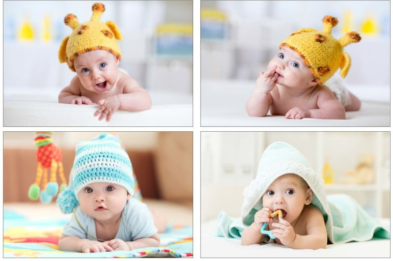 SET OF 4 CUTE BABIES Paper Print(12 inch X 18 inch, Rolled)